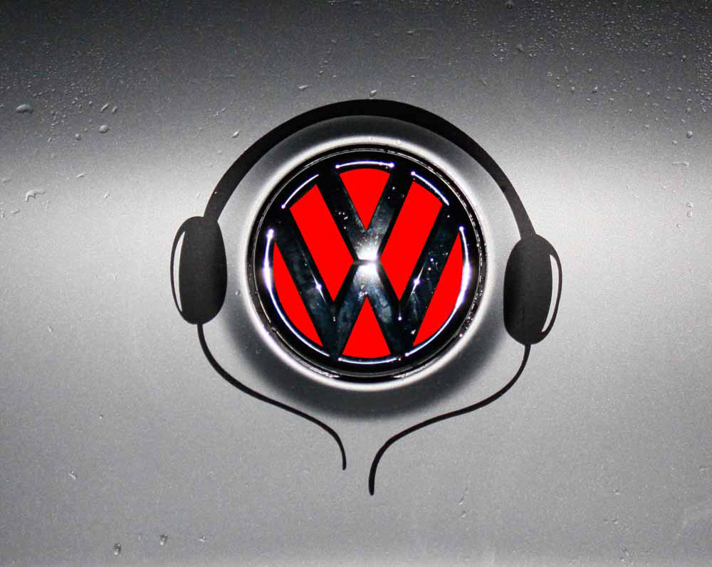 Free shipping music notation reflective stickers funny vw car logo stickers decorative cool diy car styling