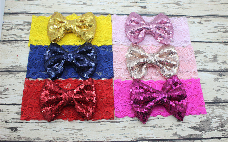 35 pcs/lot , Sparkly Sequin Bow on Lace Head Wrap
