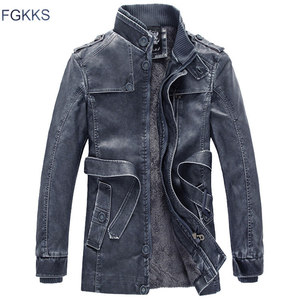 Image 4 - FGKKS Winter Men Leather Suede Jacket Fashion Brand Quality Fleece Lined Motorcycle Faux Leather Coats Male Leather Jackets