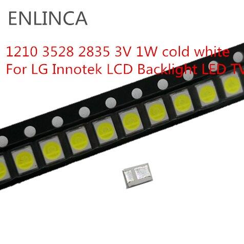 100pcs LED Backlight 1210 3528 2835 3V 1W 100l LM cold Cool white For LG Innotek LCD Backlight LED TV Application