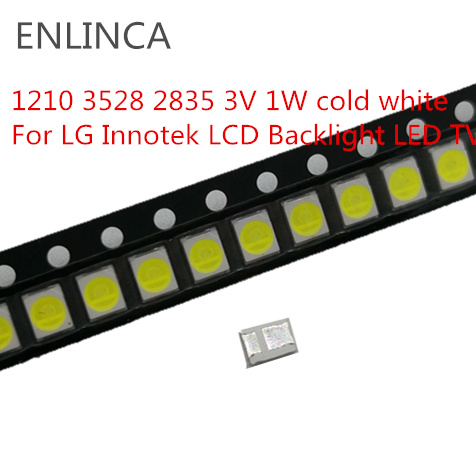 100pcs <font><b>LED</b></font> Backlight 1210 3528 <font><b>2835</b></font> <font><b>3V</b></font> <font><b>1W</b></font> 100l LM cold Cool white For LG Innotek LCD Backlight <font><b>LED</b></font> TV Application image