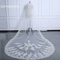 Fashionable Ivory white Wedding Veils schleier Bridal Veil Lace Edge Wedding Accessories Bride Mantilla Wedding Veil sluier