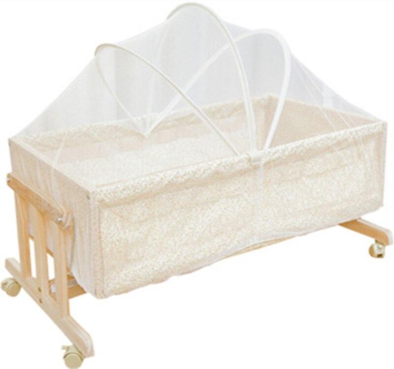 Simple lit en bois massif berceau bébé berceau Portable lit pour enfants moustiquaires avec moustiquaire rouleau 0-2month - 5