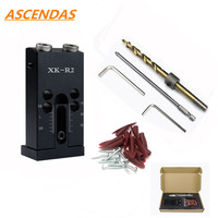 ASCENDAS 9.5mm Wood Pocket Jig Kit Woodworking Tool for Screw Drill Portable Carpenter Positioner Locator Drilling Guide TP 0164