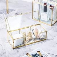 Three Grid Gold Gilt Glass Storage Box Luxury Modern Jewelry Sundries Storage Box Jewelry Display Container Organizer Home Decor