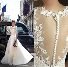 2014 New vestido de noiva Romantic Sleeves White/Ivory Lace Chiffon Wedding Dress Bridal Gown Free shipping Custom Made Size