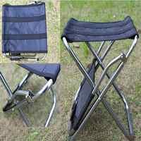 Ultralight Portable Folding Outdoor Fishing Camping BBQ Black Aluminum Backrest Stool