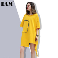 EAM 2018 New Spring Summer Round Neck Long Sleeve Square Printed Loose Big Size Hem