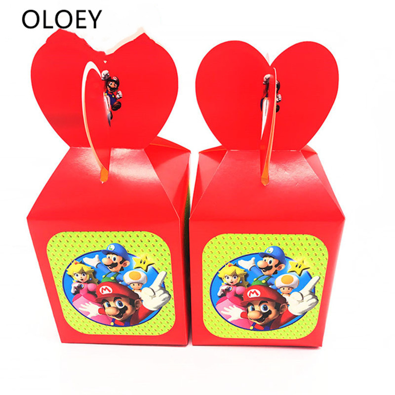 12pcs/lot Super Mario Theme Candy Boxes Mario Theme Birthday Party Decoration Mario Theme Gift Boxes Mario Bros Candy Boxes