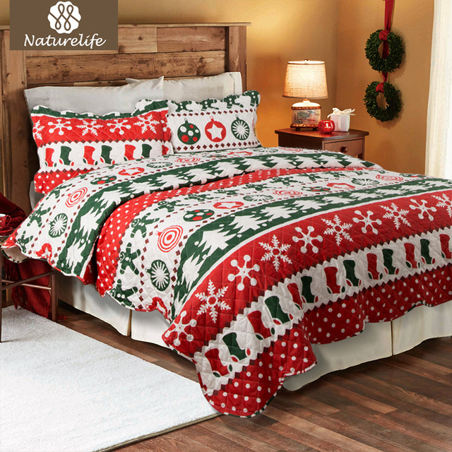 naturelife printed quilt coverlet set bedspread bed cover plaid cartoon christmas design quilt lightweight warm coverlet