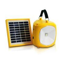 N710 Solaire Alimenté 4-Mode Intérieure et Extérieure De Poche A MENÉ La Lumière D'urgence Batterie Chargeur Avec Radio FM (Jaune)