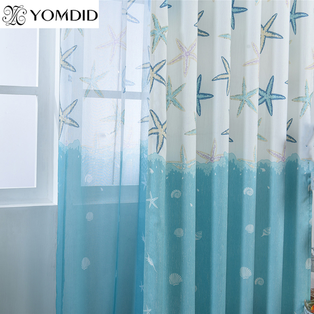 New Pastoral Style Curtains Starfish Reed Printed Cotton Linen Curtain  Bedroom Living Room Kitchen Decor Tulle
