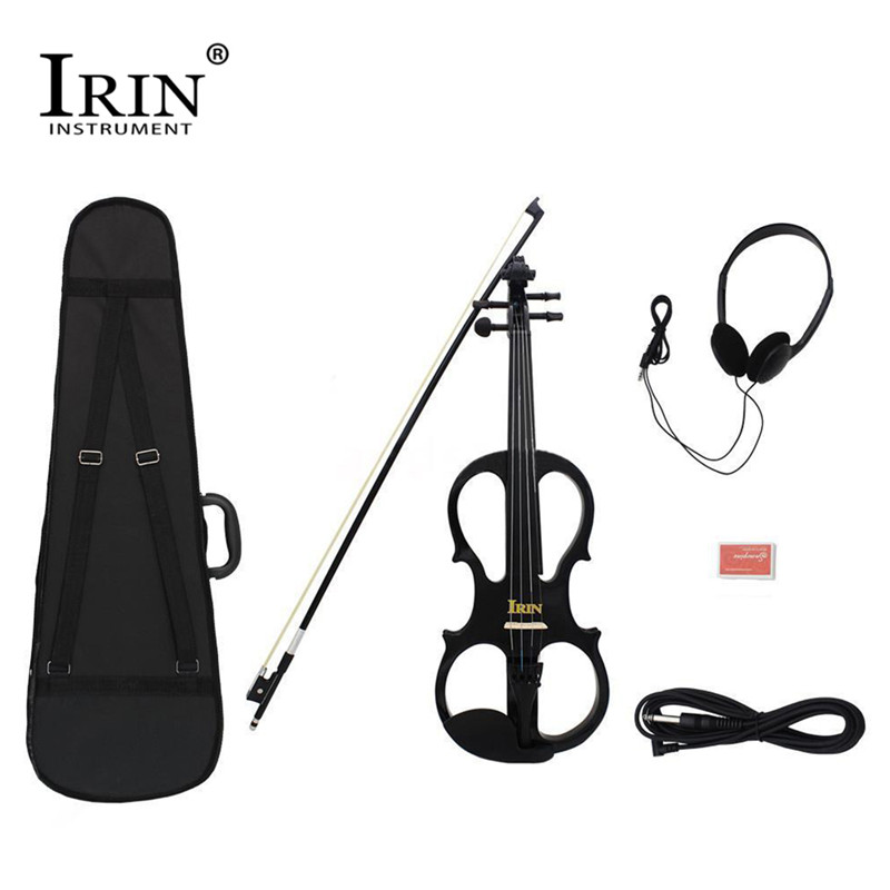 IRIN 4/4 Wood Maple Electric Violin Fiddle with Ebony Fittings Cable Headphone Case Black 8 Pcs/ set Black Color Music Accessory