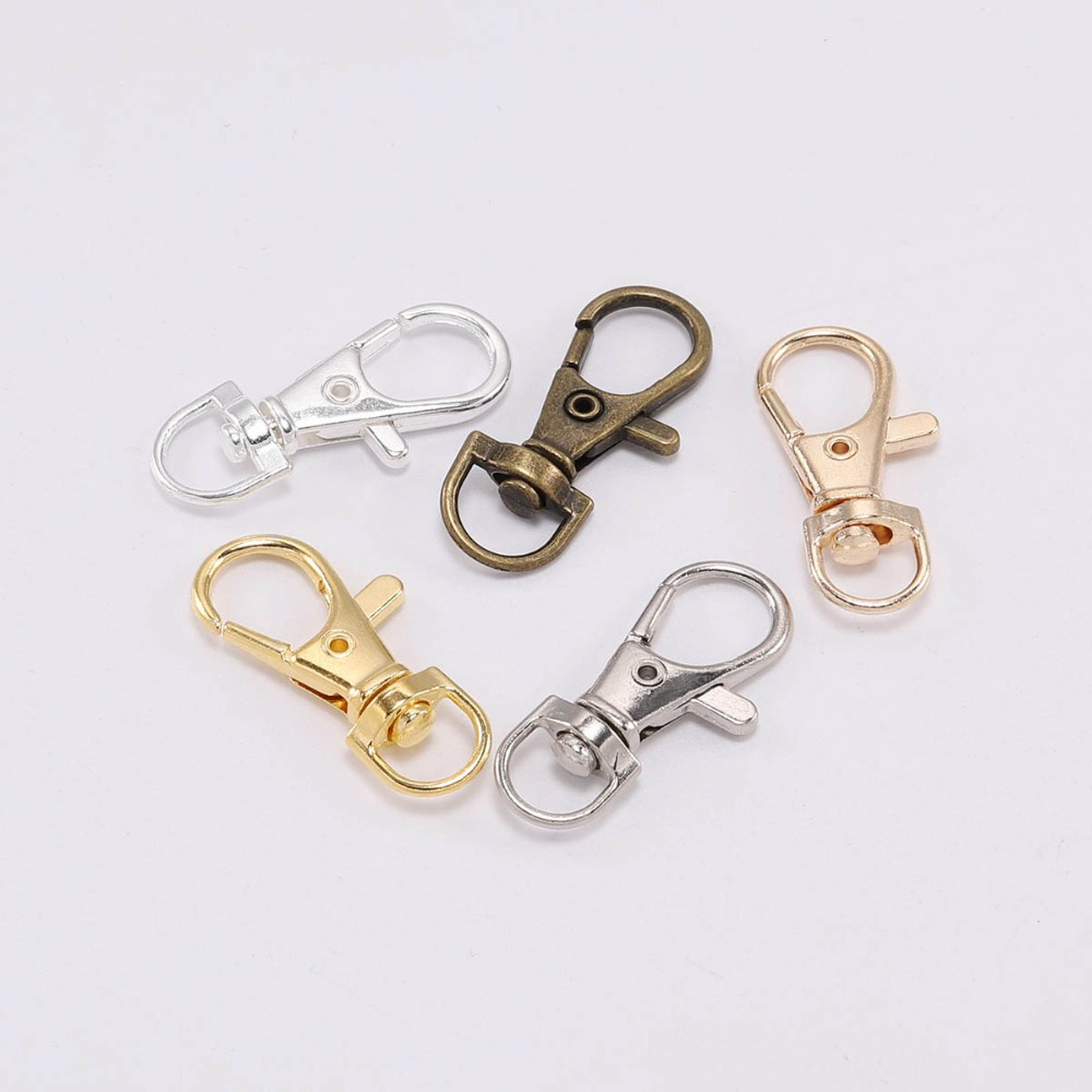 10pcs/lot Swivel Lobster Clasp Hooks Keychain Split Key Ring Connector For Bag Belt Dog Chains DIY Jewelry Making Findings(China)