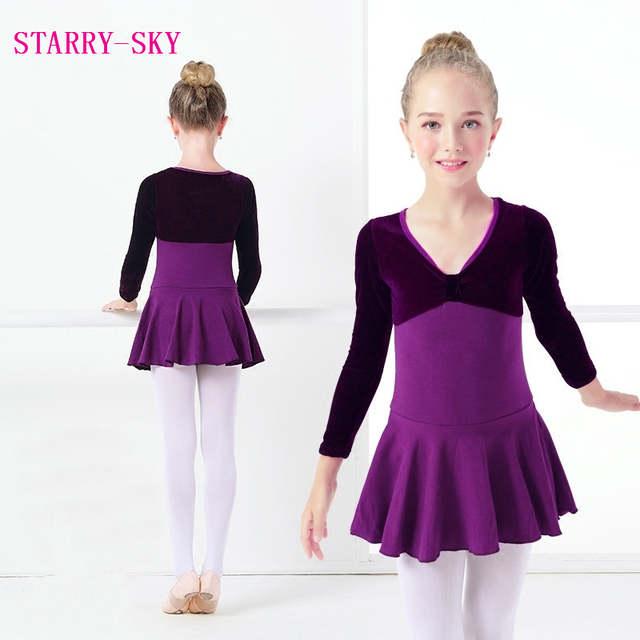 a38aeb489 Online Shop Children Dance Clothing Autumn Purple Long-Sleeved ...