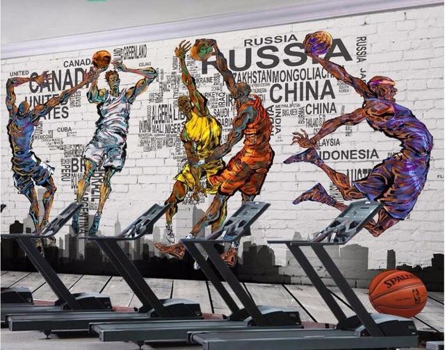 Custom photo 3d wallpaper Basketball dunk master graffiti brick wall