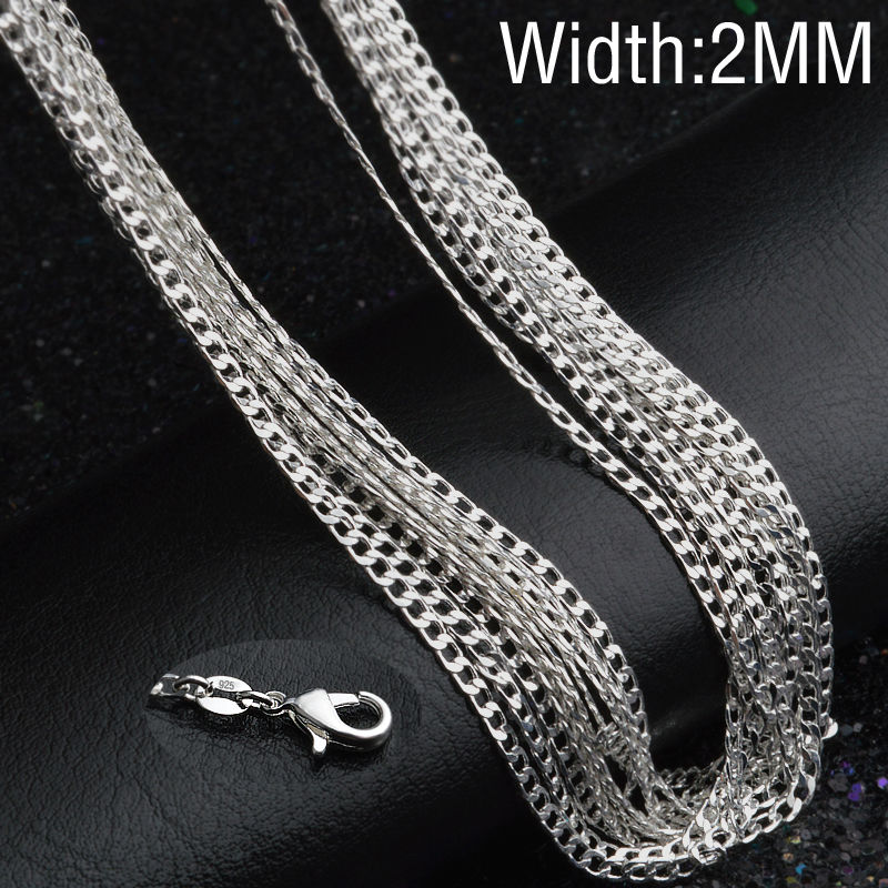 Hot Sale! 1pcs/lot Fashion Silver Necklace Chain,2mm 925 Jewelry Silver Plated Curb Chain Necklace 16-30,pick length!