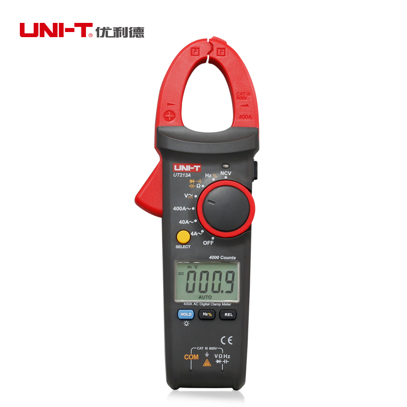 UNI-T UT213A AC 400A Ditgital Current Clamp Meters diagnostic-tool Clamp Meter Resistor/Capacitor Frequency/Diode Test NCV uni t ut202a 400 600a ditgital current clamp meters diagnostic tool capacitance tester ncv test dc ac multimeter