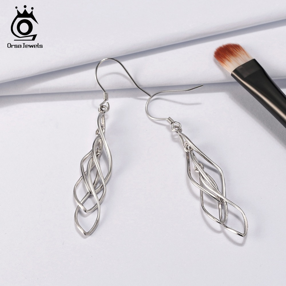 ORSA JEWELS 925 Sterling Silver Dangle Earrings For Women Romantic Silver Wedding Engagement Drop Earing Female Jewelry OSE83 in Earrings from Jewelry Accessories