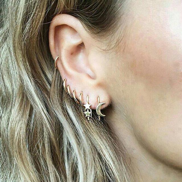 Star Moon Geometric Stud Earrings