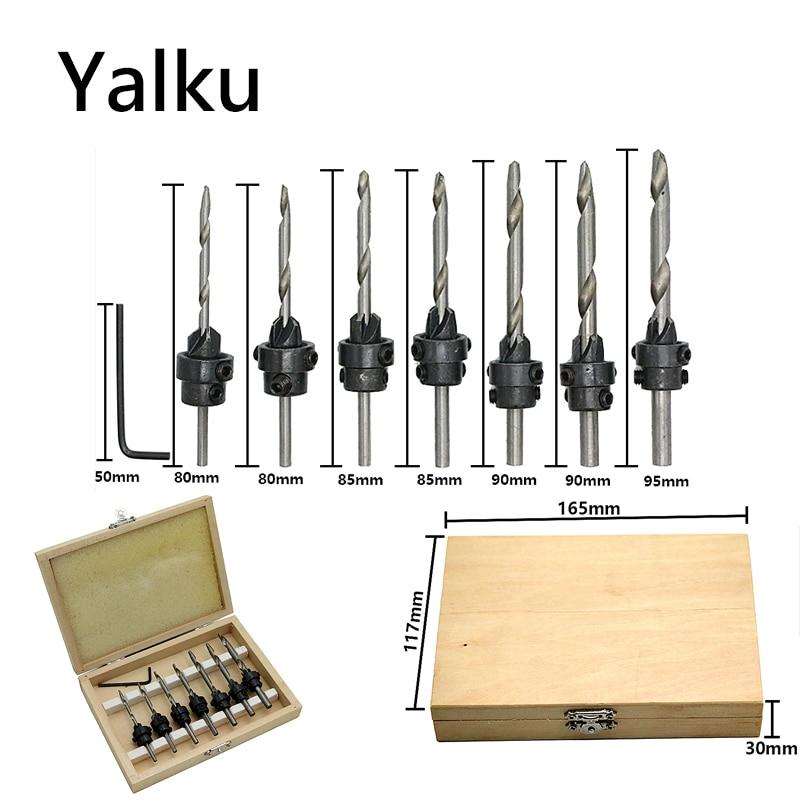 Yalku Woodworking Countersunk Drill Set 5 / 8pcs Twist Drill Bit Set Mini Hex Wrench Screw Countersink Drill Set Electrical Tool