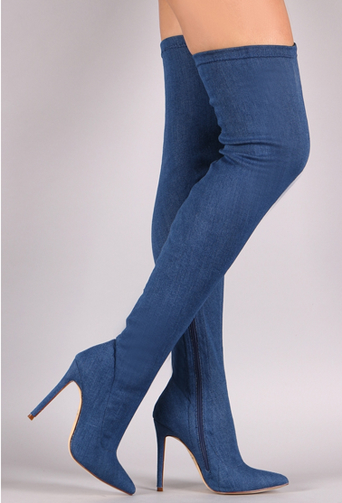 hot selling denim blue stretch fabric thigh high boots sexy pointed toe high heel boots for woman thin heel long boots 35-42 little library 6 books