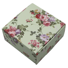 50pcs/lot Small Square Cardboard Gift Boxes Packaging Floral Print Paperboard Paper Folding Carton Jewelry Soap Craft 3 Style