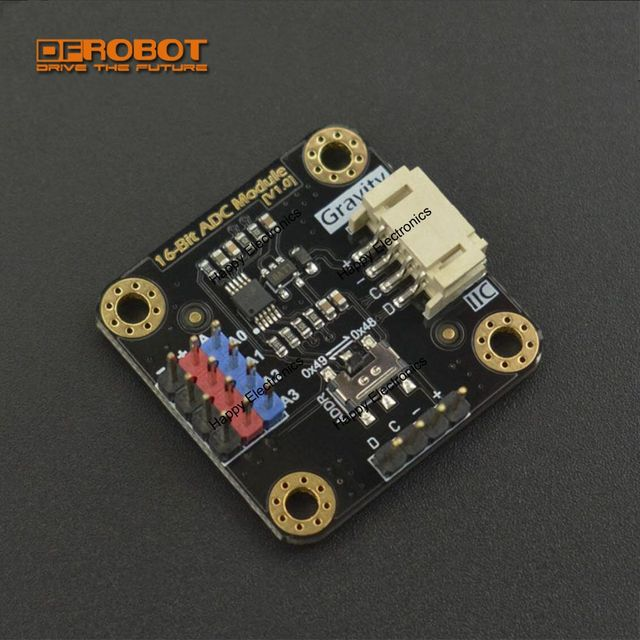 US $9 89 |DFRobot Gravity I2C ADS1115 16 Bit ADC Module AD Analog signal  Converter, 3 3~5 0V cascade Compatible with Arduino Raspberry Pi-in
