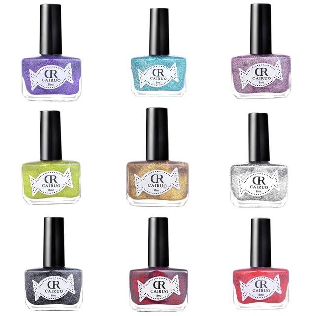 8 ml 17 colores metálicos Esmaltes de uñas no tóxico duradero ...