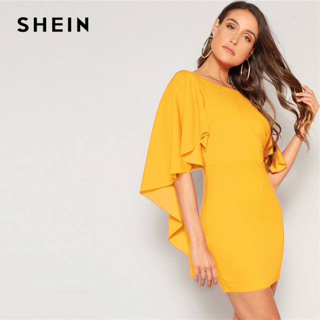 SHEIN Sexy Open Back Cloak Sleeve Summer Mini Dress Women Glamorous Round Neck Slim Fit Solid Night Out Party Dress 3