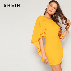 Image 4 - SHEIN Sexy Open Back Cloak Sleeve Summer Mini Dress Women Glamorous Round Neck Slim Fit Solid Night Out Party Dress