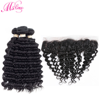Mslove Deep Wave Bundles With Frontal Non Remy Human Hair 3 Bundles With 13 4 Lace