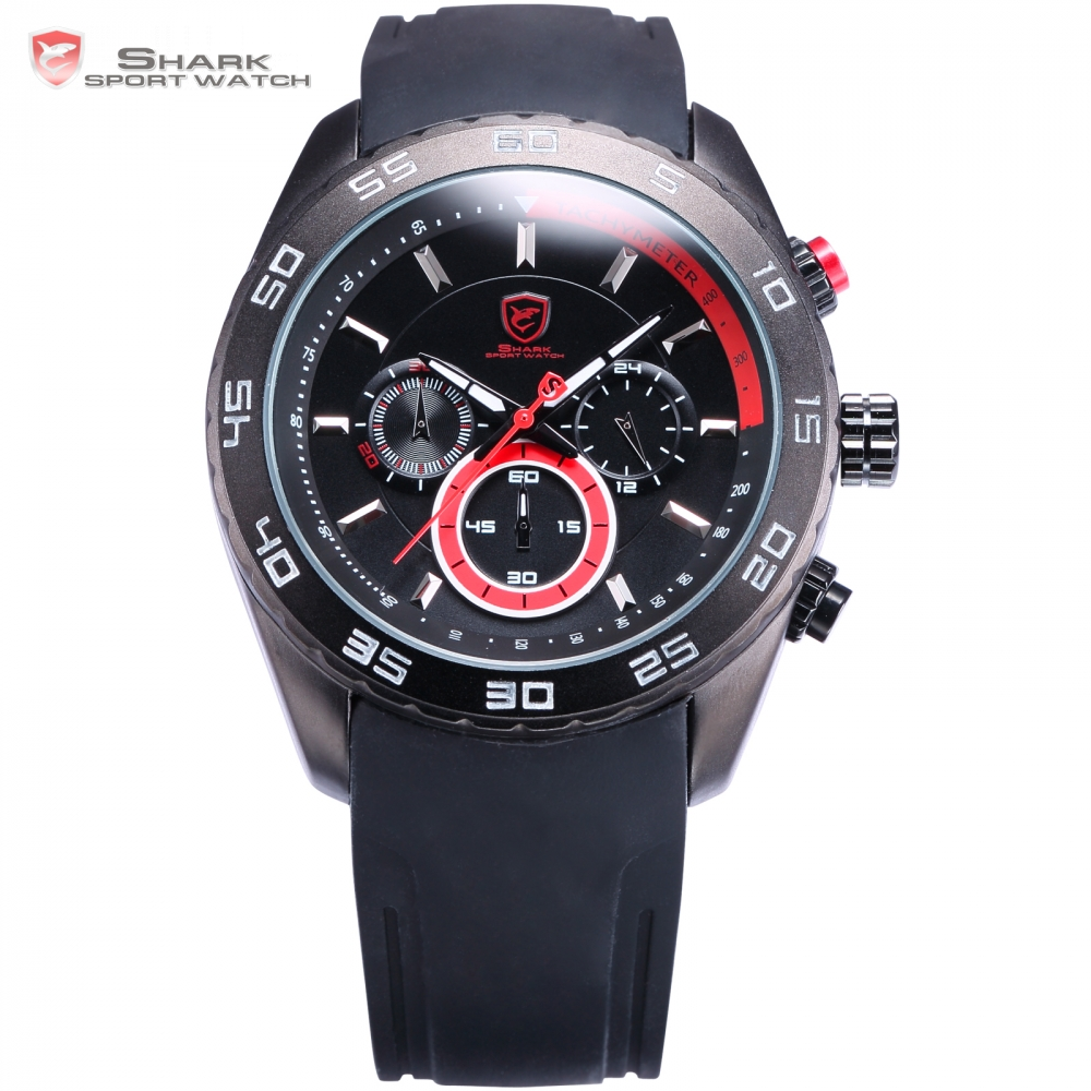 Spinner Shark Sport Watch Mens Boys Clock Black Silicone Strap Chronograph Water Resistant Red Analog Quartz Wristwatch / SH256