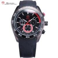 Spinner Shark Sport Male Clock Black Silicone Band Saat Chronograph Function Waterproof Analog 6 Hands Men
