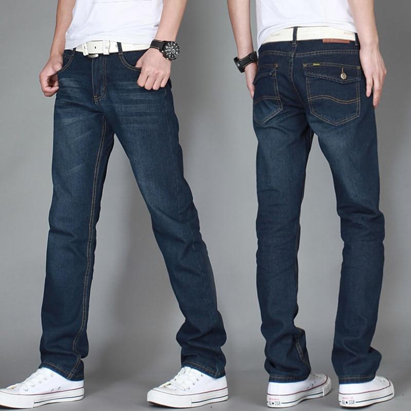 New 2017 Men's Fashion Boutique Fashion Cotton Breathable Straight Blue Black Casual Jeans / Slim Men Leisure Jeans Pants Male