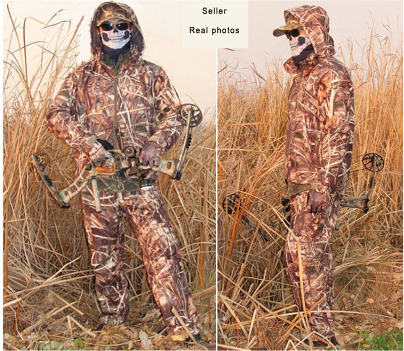 Men 3D waterproof resistant Windproof Sedge Reed bulrush pattern Ghillie Suit Hunting clothes suitable for hunting