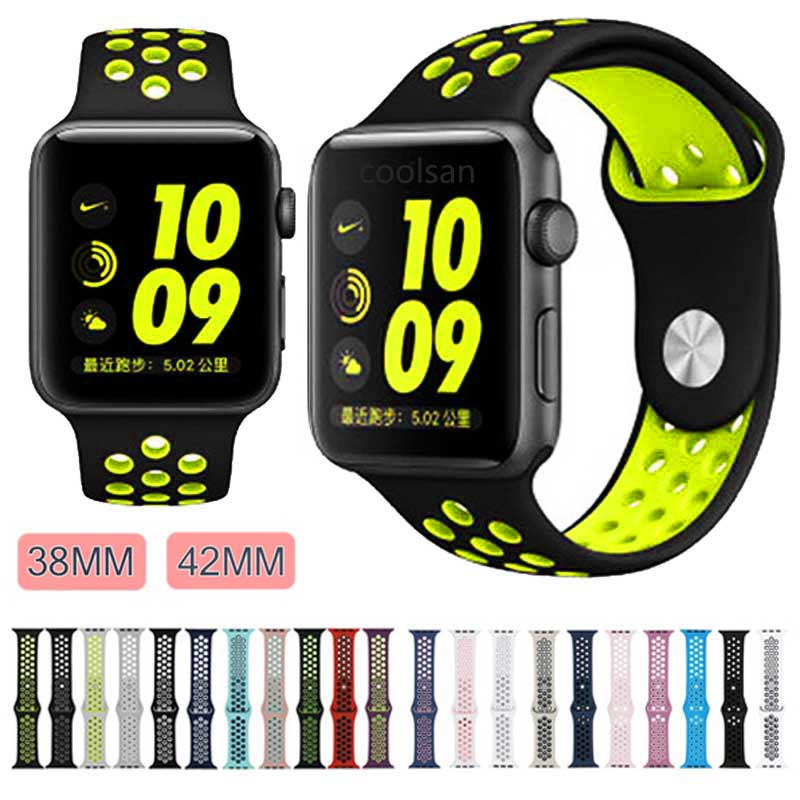Colorful Soft Silicone for Apple Watch Band 42mm Sport Rubber Bracelet Wrist Watch Strap for iWatch Series 1/2/3 38mm Watchbands