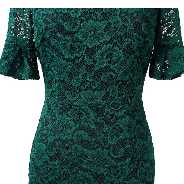 Vfemage Women Elegant Flare Trumpet Bell Sleeve Lace Vintage Pinup Casual Work Office Party Bodycon Sheath Dress 9307 4