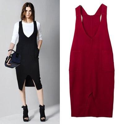 df663af2aabc 2015 New Sweater Dress Women V Neck Sleeveless Woman Tank dress Clothes  Winter Lady Tunic Knitwear Vestido De Festa Red