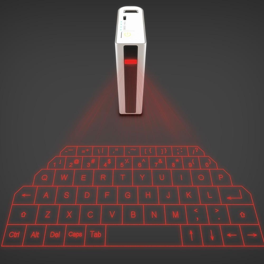 Trådløst Bluetooth Laser Projection Virtual Keyboard med 5200mAh Mobile Power Bank 2 i 1 til iPhone iPad Tablet
