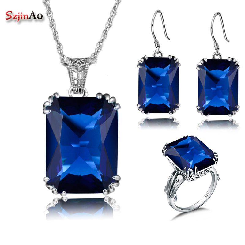 Szjinao Sapphire African Beads 925 Silver Crystal Jewelry Sets For Women Wedding Bridal Ring Pendant Earrings