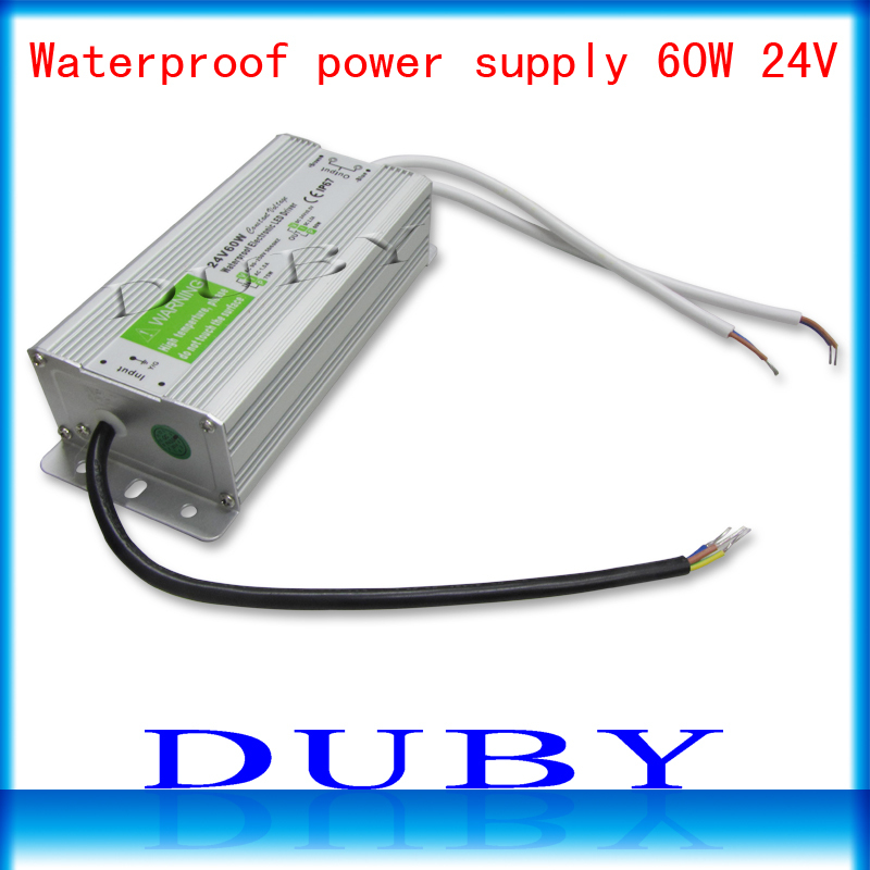 IP67 24V 2.5A 60W AC100-240V Input Electronic Waterproof Led Power Supply/ Led Adapter 24V 60W free shipping