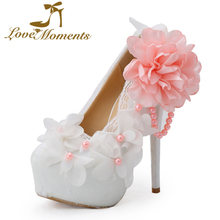 Love Moments Handmade glitter Lace high heel wedding shoes pink flower banquet formal dress shoes bridal shoes large size 41-42