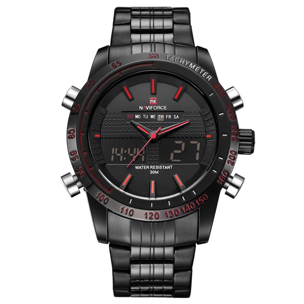 NAVIFORCE Men Watches Top Brand Luxury Military Waterproof Quartz Wristwatches Black Steel Sport Clock Man Relogio Masculino