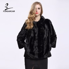 Real Mink Fur Coat Full Pelt Natural Color Women Winter Mink Fur Coats Nine Quarter Winter Jacket Casaco Feminino BF-C0156