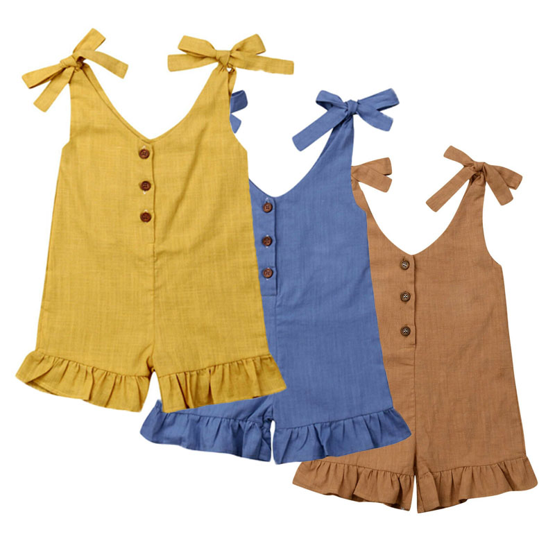 Summer Kids Baby Girl Cotton Linen Clothes Ruffle   Romper   Jumpsuit Sleeveless Button Overalls Outfits 1-6Y NEW