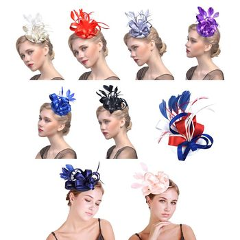 Ladies Boutique Ribbon Bowknot Fascinators Hat Vintage Glitter Solid Color Feather Banquet Wedding Party Duckbill Bridal Headwea Bridal Headwear