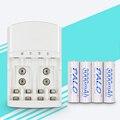 4 slots 1.2 v aa aaa 9 v (6f22) li-ion nimh nicd carregador de bateria led indicador + 4 peças 3000 mah baterias recarregáveis