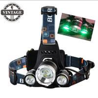 Vert couleur lumière RJ-5000 lumens 3T6 Phare de Phare 3xC-XML LED Phare LED Tête lampe & Chargeur