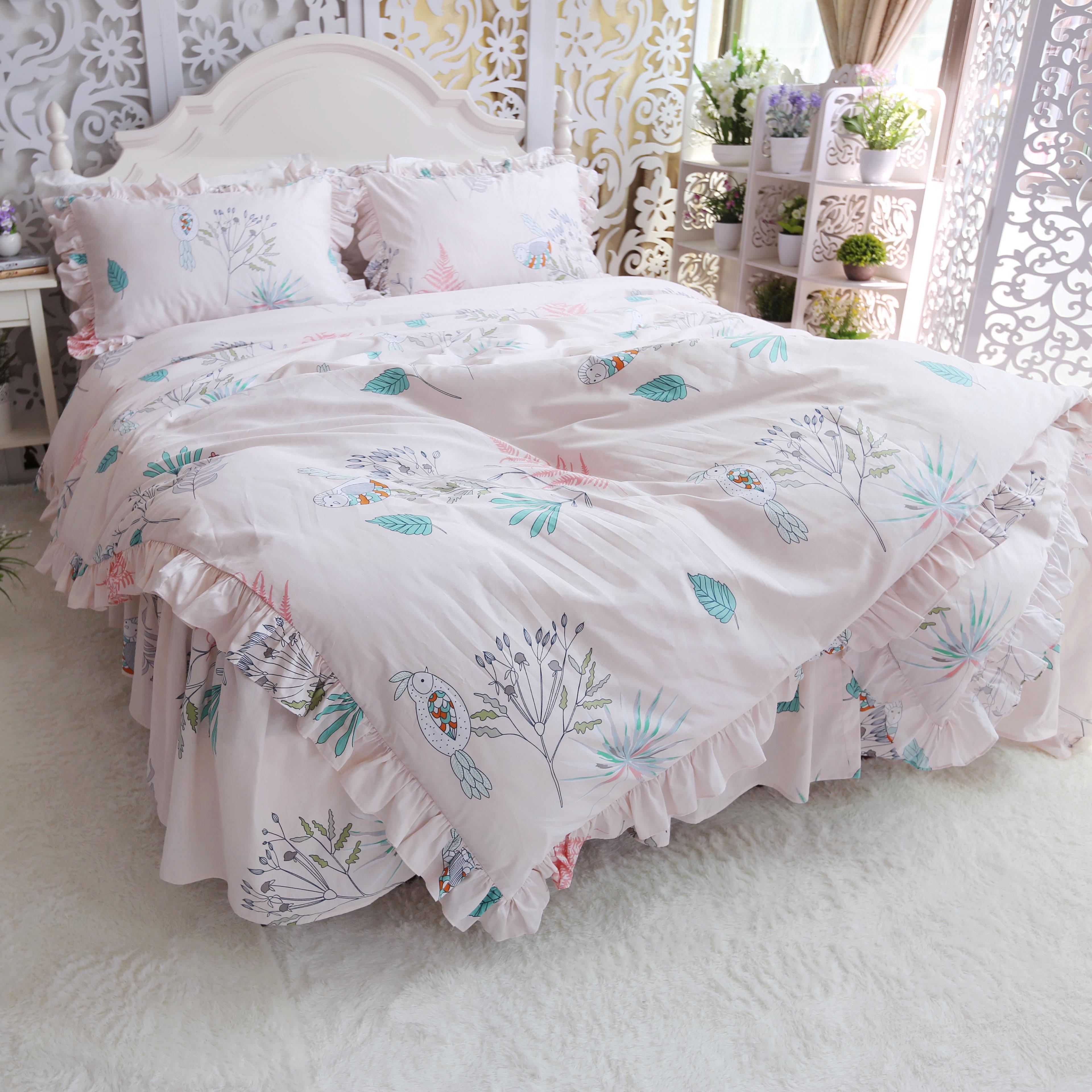 Cotton bedding set twill princess wind ruffled quilt cover pillowcase plant flower bird print bed spreadCotton bedding set twill princess wind ruffled quilt cover pillowcase plant flower bird print bed spread